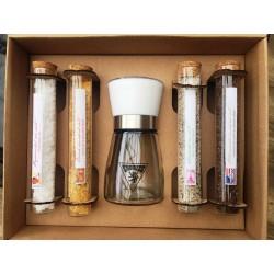 Dárková kazeta 4x sůl - zkumavky + mlýnek